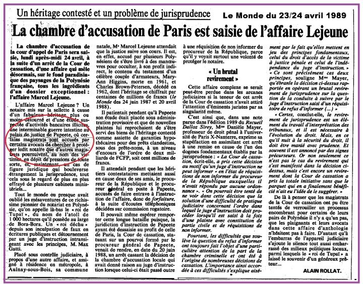 Tahiti chambre d'accusation Paris