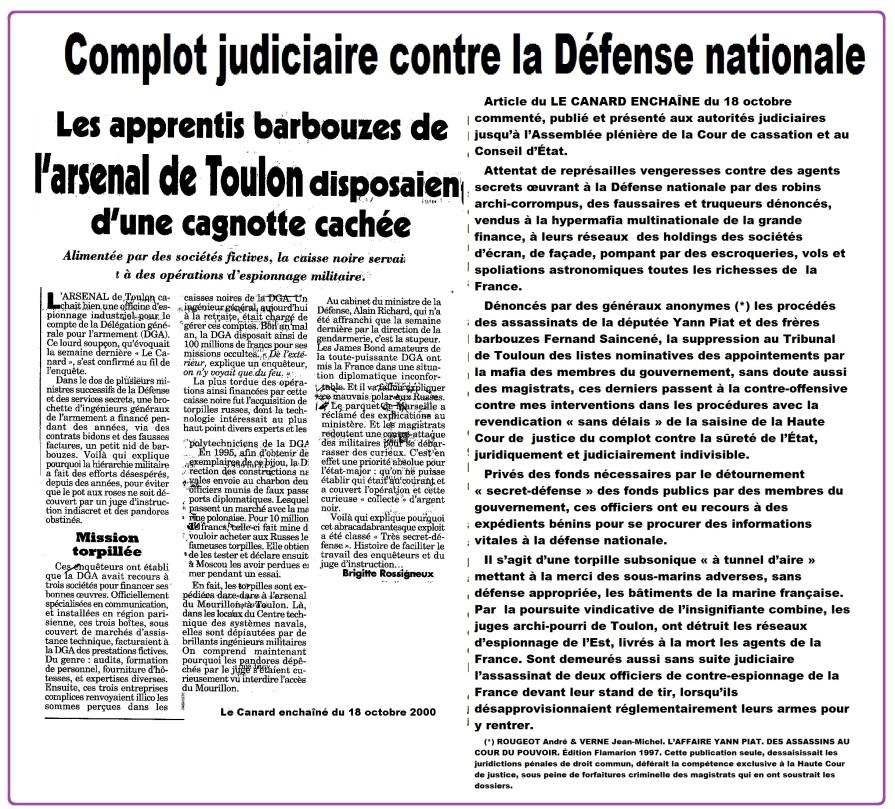 Torpilles espions inculpés Toulon Presse