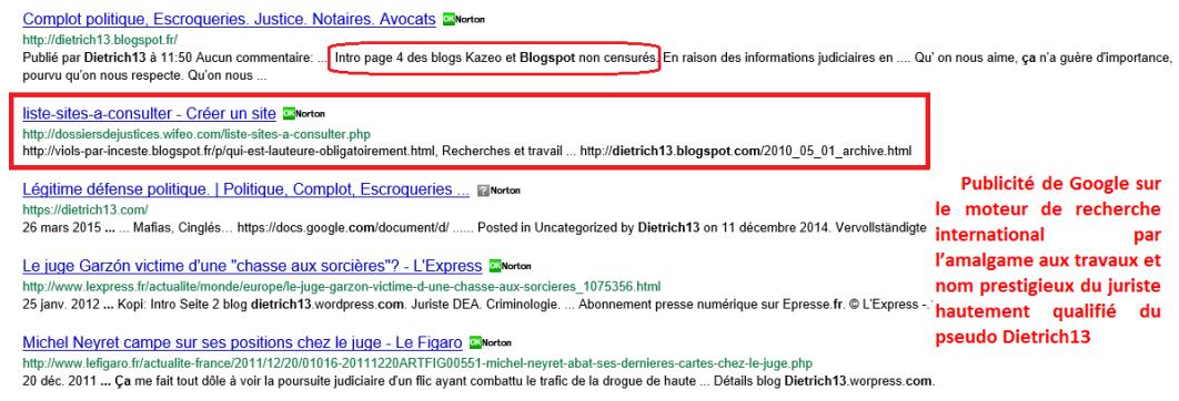 Publcité blogspot sur Net