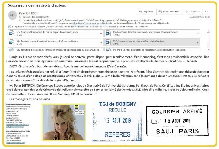 Confirmation de mon testament sur WEB pour Elina